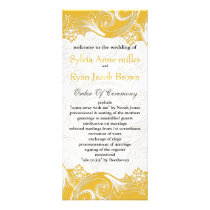 Yellow and White Floral Spring Wedding Rack Card