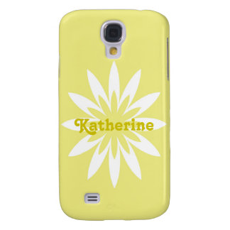 Yellow and white flower monogram Samsung galaxy Galaxy S4 Cases