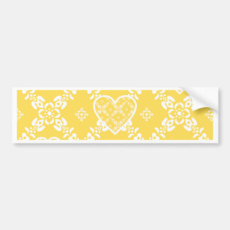 Yellow and white flowers and hearts customizable bumper sticker