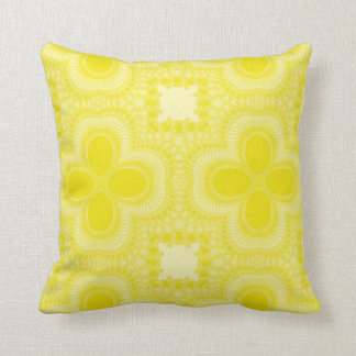 Yellow and White Four Petal Flower Abstract Pillow
