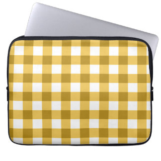 Yellow And White Gingham Check Pattern Computer Sleeve