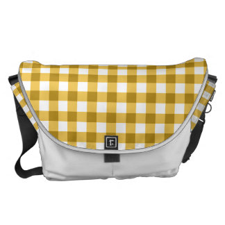 Yellow And White Gingham Check Pattern Courier Bag