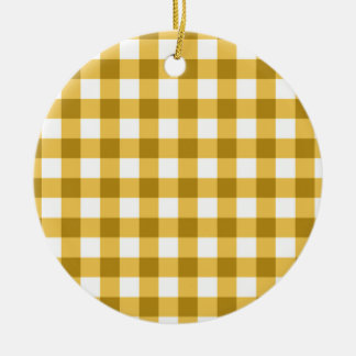 Yellow And White Gingham Check Pattern Double-Sided Ceramic Round Christmas Ornament