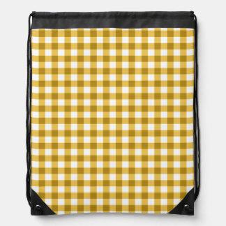 Yellow And White Gingham Check Pattern Drawstring Bag