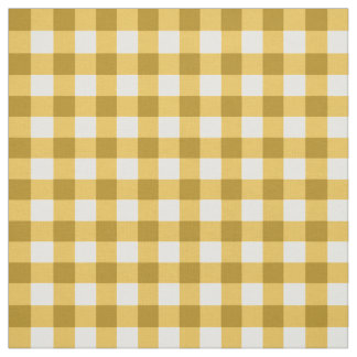 Yellow And White Gingham Check Pattern Fabric