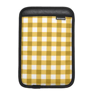 Yellow And White Gingham Check Pattern iPad Mini Sleeve