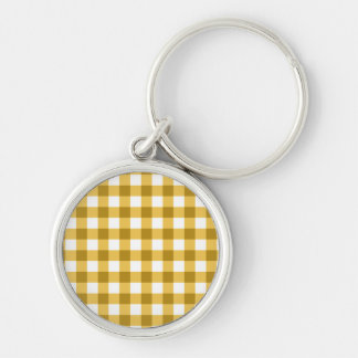Yellow And White Gingham Check Pattern Silver-Colored Round Keychain