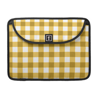Yellow And White Gingham Check Pattern MacBook Pro Sleeve
