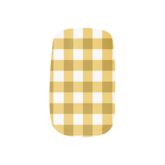 Yellow And White Gingham Check Pattern Minx Nail Wraps