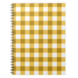Yellow And White Gingham Check Pattern Notebook