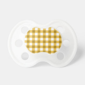 Yellow And White Gingham Check Pattern Pacifier