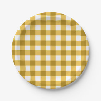 Yellow And White Gingham Check Pattern Paper Plate
