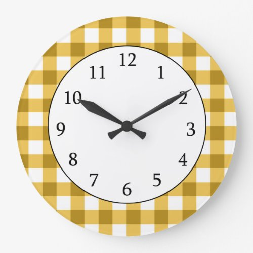 Yellow And White Gingham Check Pattern Wall Clocks