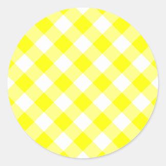 Yellow and White Gingham Classic Round Sticker