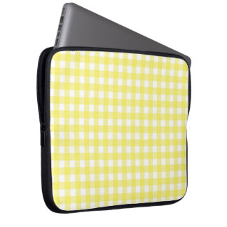 Yellow and White Gingham Design Computer Sleeve