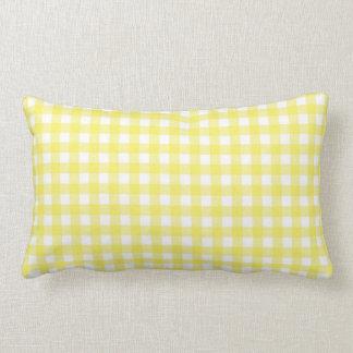 Yellow and White Gingham Design Lumbar Pillow