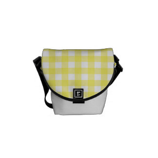 Yellow and White Gingham Design Messenger Bags