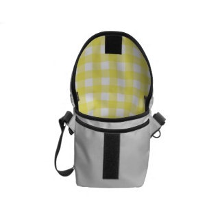 Yellow and White Gingham Design Courier Bags