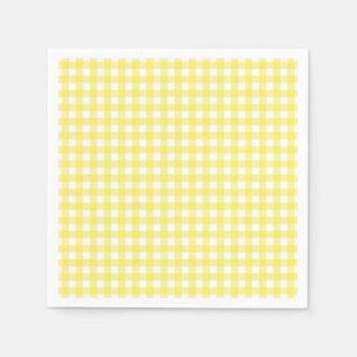 Yellow and White Gingham Design Napkin