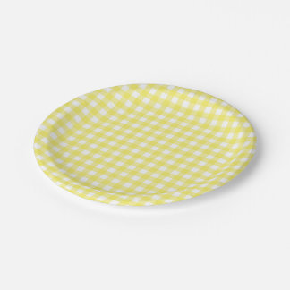 Yellow and White Gingham Design Paper Plate