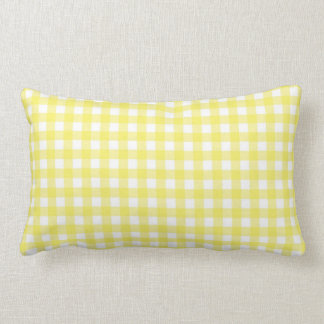 Yellow and White Gingham Design Pillow