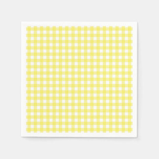 Yellow and White Gingham Design Standard Cocktail Napkin