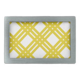Yellow and White Gingham Rectangular Belt Buckle
