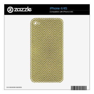 Yellow and White Glitter Zig Zag iPhone 4S Decal