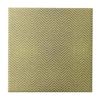 Yellow and White Glitter Zig Zag Ceramic Tiles
