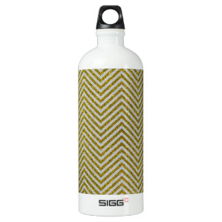 Yellow and White Glitter Zig Zag Water Bottle