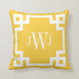 Yellow and White Greek Key Monogram Throw Pillow