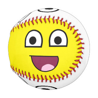 Yellow and white happy face baseball