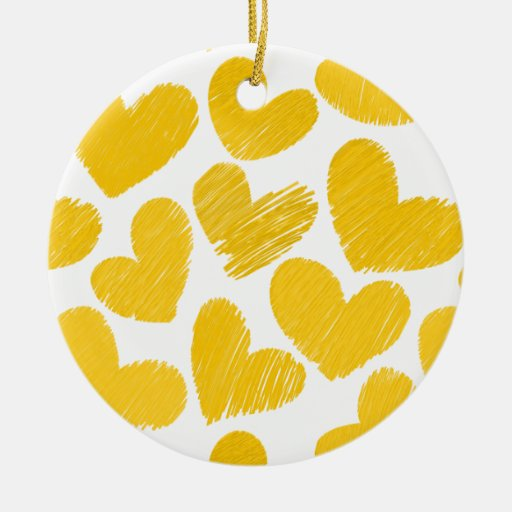 Yellow and white hearts Ornament