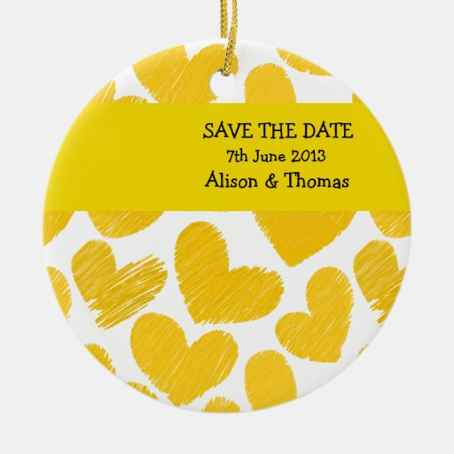 Yellow and white hearts 'Save the date' Ornament