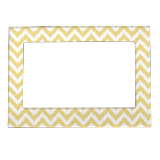 Yellow and White Ikat Chevron Pattern Magnetic Frame