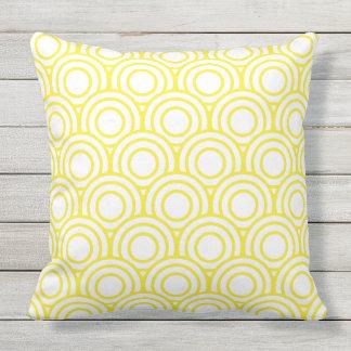 Yellow and White Japanese Geometric Circle Throw Pillow