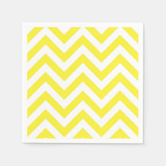 Yellow and White Large Chevron ZigZag Pattern Disposable Napkins