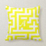 Yellow and White Maze Monogram Throw Pillow