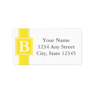 Yellow and White Monogrammed Return Address Labels