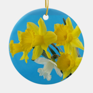 Yellow and White Narcissus Daffodils Christmas Tree Ornaments