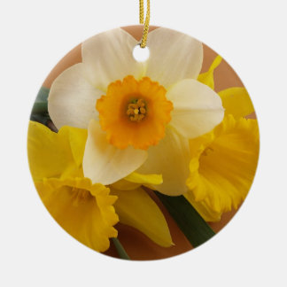 Yellow and White Narcissus Daffodils Ornament