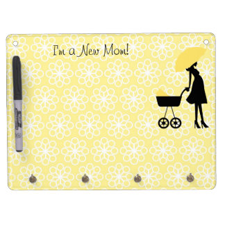 Yellow and White New Mom Reminder Dry Erase Board