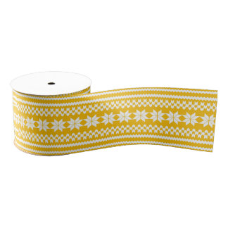 Yellow and White Nordic Christmas Sweater Pattern Grosgrain Ribbon