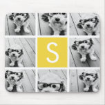 Yellow and White Photo Collage Custom Monogram Mousepads