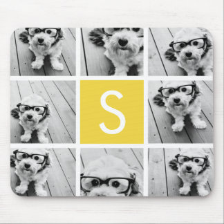 Yellow and White Photo Collage Custom Monogram Mouse Pad