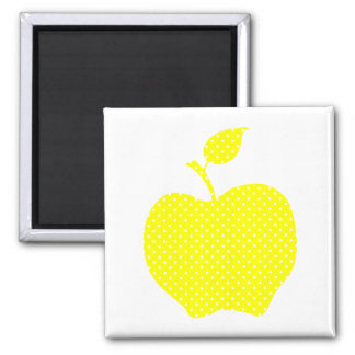 Yellow and White Polka Dot Apple 2 Inch Square Magnet