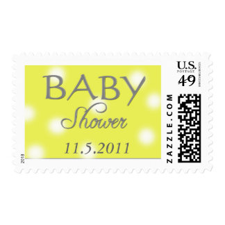 Yellow and white polka dot custom shower stamps