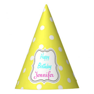 Yellow and white polka dot glamour modern party hat