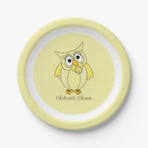 Yellow and White Polka Dot Owl   Personalize Paper Plate