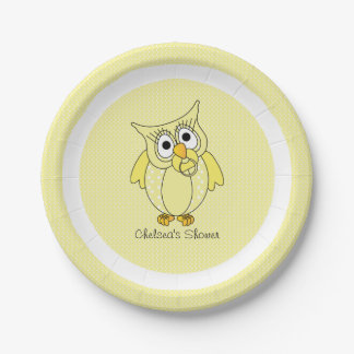 Yellow and White Polka Dot Owl | Personalize Paper Plate